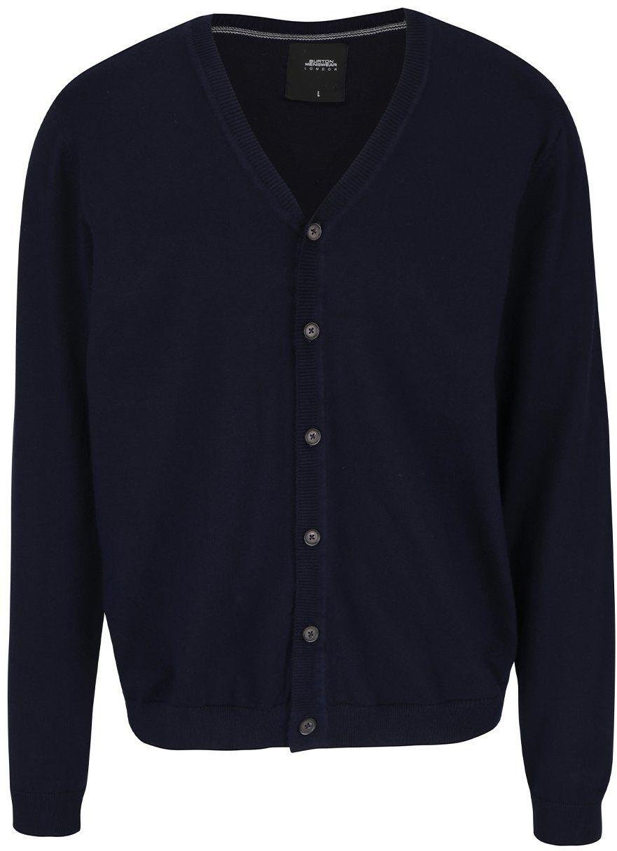 5e5e1751561d Tmavomodrý zapínací sveter s véčkovým výstrihom Burton Menswear London  značky Burton Menswear London - Lovely.sk