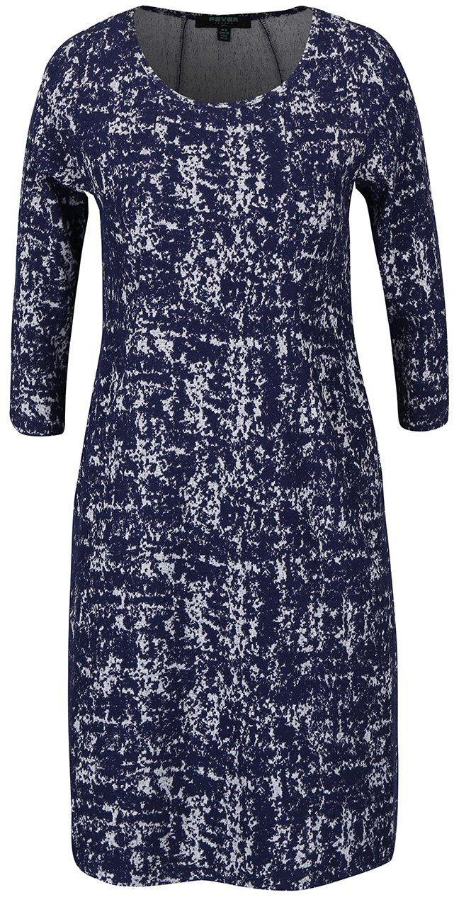 e7e606a84ef2 Tmavomodré vzorované strečové šaty s vreckami Fever London Logan značky  Fever London - Lovely.sk