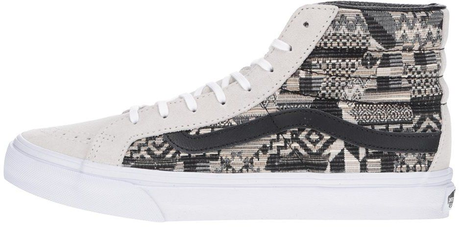 70c1c2931 Čierno-béžové semišové unisex členkové tenisky so vzorom Vans SK8-Hi Slim  značky Vans - Lovely.sk