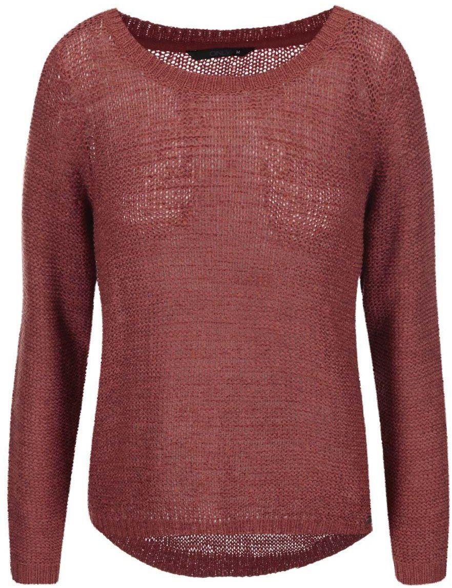 a18587eab0ba Tehlový pletený sveter ONLY Geena značky ONLY - Lovely.sk