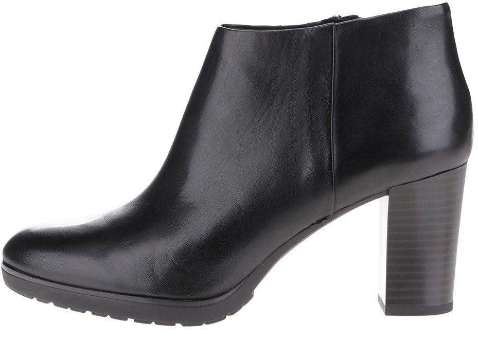 173c5b09f6 Čierne kožené dámske členkové topánky na vysokom podpätku Geox Raphal Mid  značky Geox - Lovely.sk