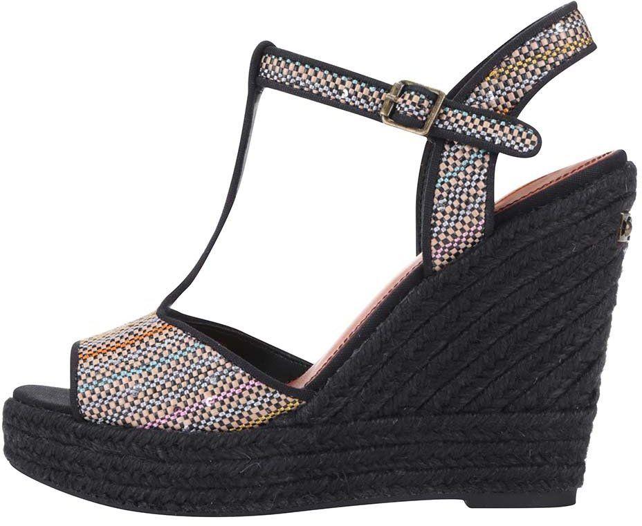 Čierne dámske sandále s flitrami na platforme Pepe Jeans značky Pepe Jeans  - Lovely.sk cc61b08866f