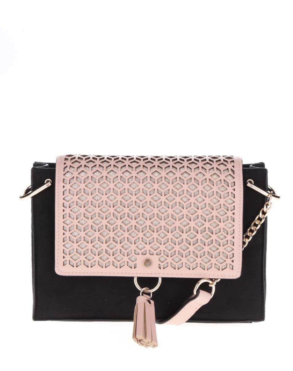 047991a79e Ružovo-čierna dierkovaná menšia kabelka Dorothy Perkins značky Dorothy  Perkins - Lovely.sk