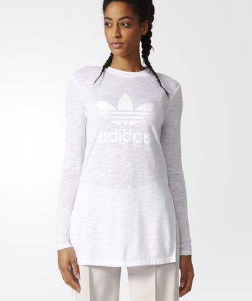 52c088595e3a Biele dámske dlhé priesvitné tričko adidas Originals značky adidas Originals  - Lovely.sk