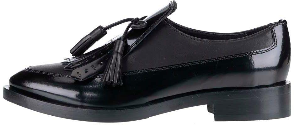 4551603a3bed Čierne dámske kožené mokasíny so strapcom Geox Brogue značky Geox -  Lovely.sk