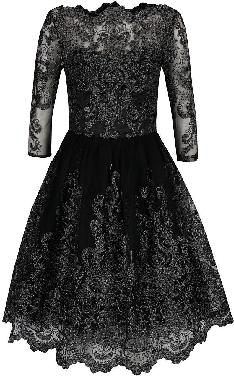 a9a2a998336d Čierne čipkované šaty s 3 4 rukávmi a detailmi v striebornej farbe Chi Chi  London Lottie značky Chi Chi London - Lovely.sk