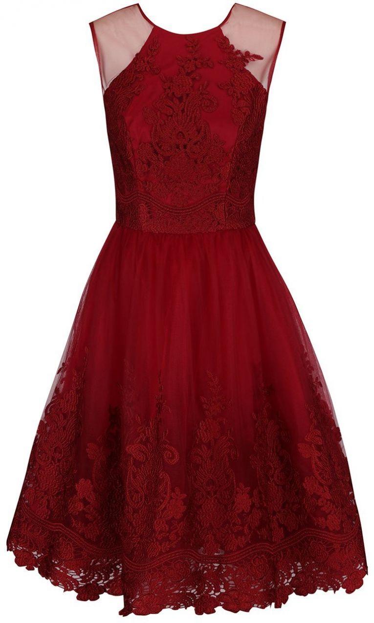 cbedd0eca076 Červené čipkované šaty bez rukávov Chi Chi London Leona značky Chi Chi  London - Lovely.sk
