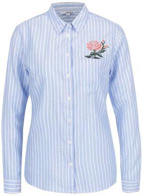 c47f4869f6bc Modro-biela pruhovaná košeľa s výšivkou TALLY WEiJL
