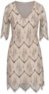 64de3ccbf58a Béžové čipkované šaty s priesvitným rukávom VILA Lanu