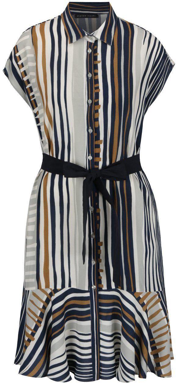 f1d1f209446 Modro-krémové košeľové pruhované šaty s opaskom Pietro Filipi značky Pietro  Filipi - Lovely.sk