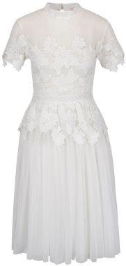 07538e1df523 Krémové čipkované šaty Miss Selfridge