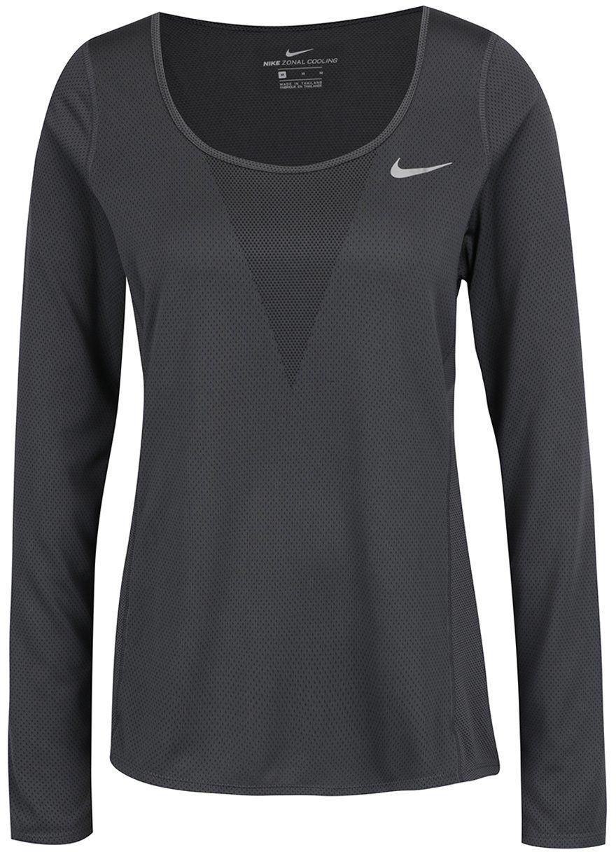 3a2e381b9d44 Tmavosivé dámske funkčné tričko s dlhým rukávom Nike Zonal Cooling Relay značky  Nike - Lovely.sk