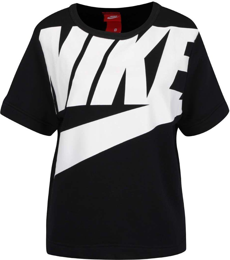 ce8e04a44428 Čierna dámska mikina s potlačou a krátkym rukávom Nike Modern značky Nike -  Lovely.sk