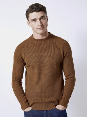Hnedý basic sveter Burton Menswear London