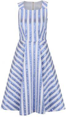 ae7b5276a451 Krémové šaty s lesklými modrými pruhmi Closet
