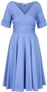 890461655178 Modré šaty s prekladaným výstrihom Closet