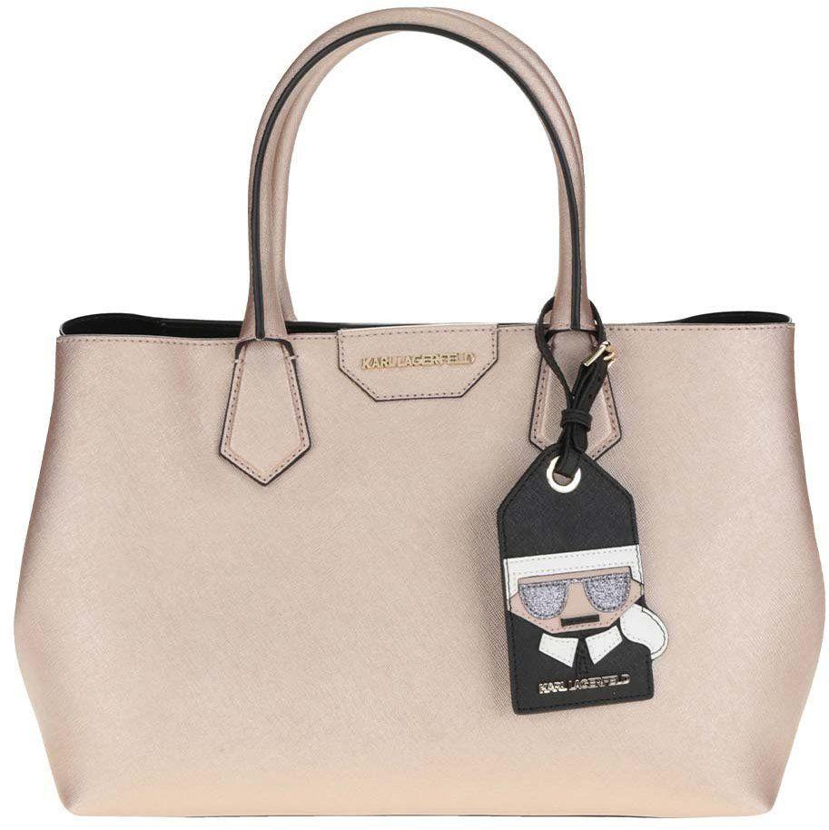 Ružová kožená kabelka s metalickými odleskami KARL LAGERFELD značky KARL  LAGERFELD - Lovely.sk ea4a226e4a2