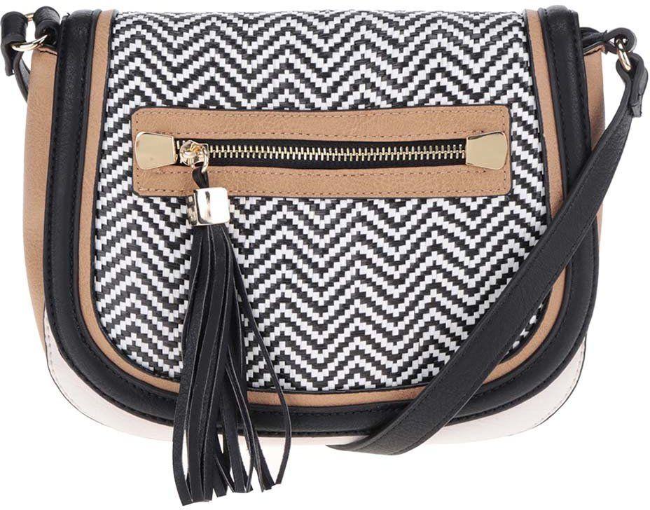 d26ac8dc64 Čierno-hnedá vzorovaná crossbody kabelka so strapcami ALDO Piedigrotta  značky ALDO - Lovely.sk