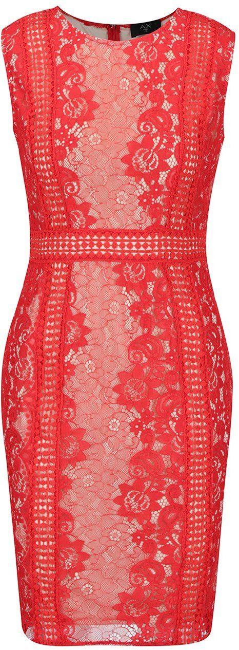 fe8feecbcb41 Krémovo-červené čipkované šaty AX Paris značky AX Paris - Lovely.sk