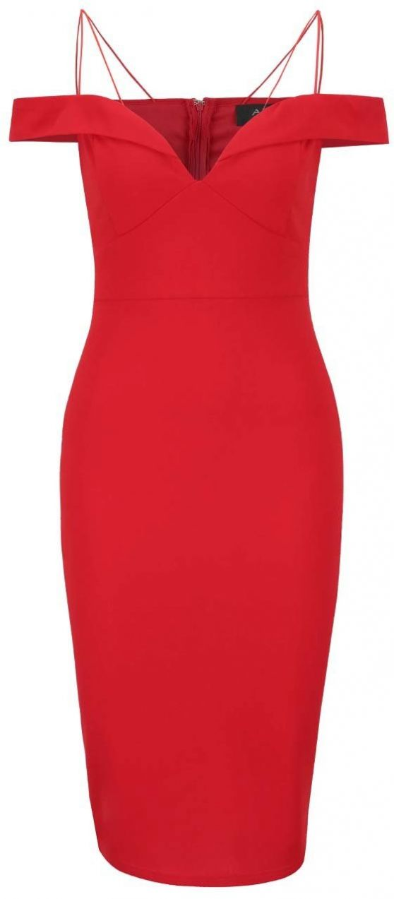 Červené šaty s odhalenými ramenami a tenkými ramienkami AX Paris značky AX  Paris - Lovely.sk ceb0ef7249b