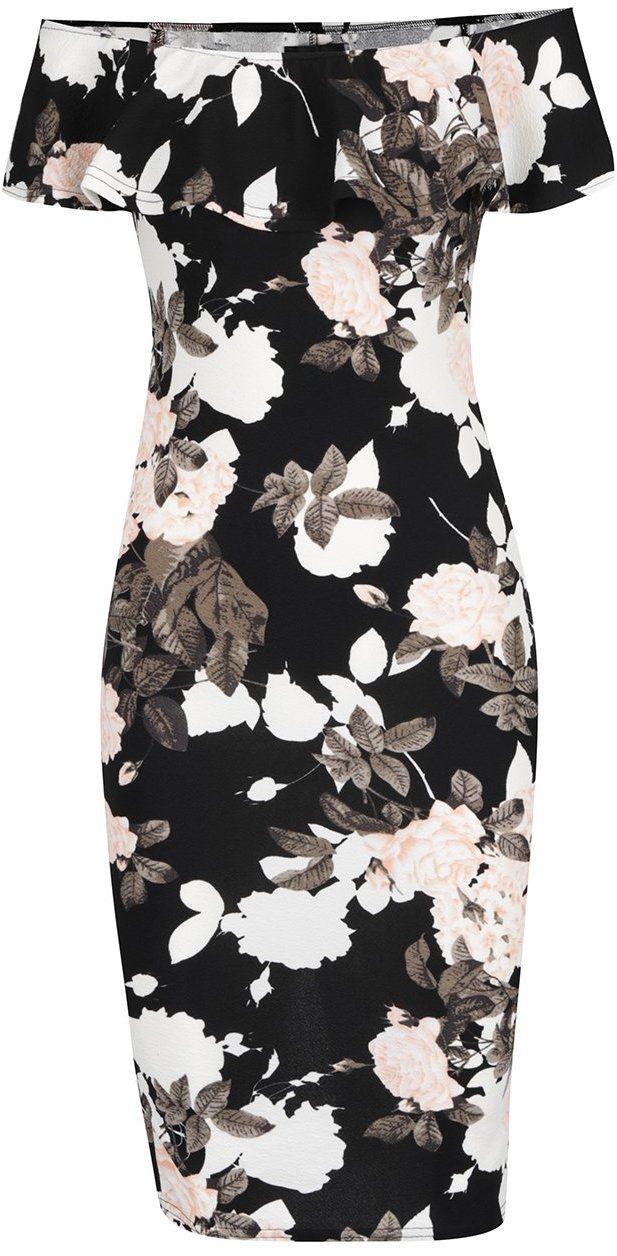 Krémovo-čierne kvetované šaty s odhalenými ramenami Ax Paris značky AX Paris  - Lovely.sk b025e887655