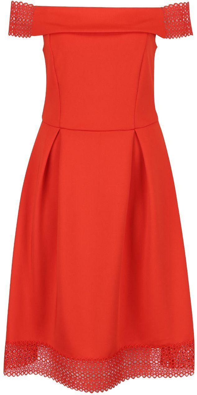 b31126818b16 Červené šaty s odhalenými ramenami Dorothy Perkins značky Dorothy Perkins -  Lovely.sk