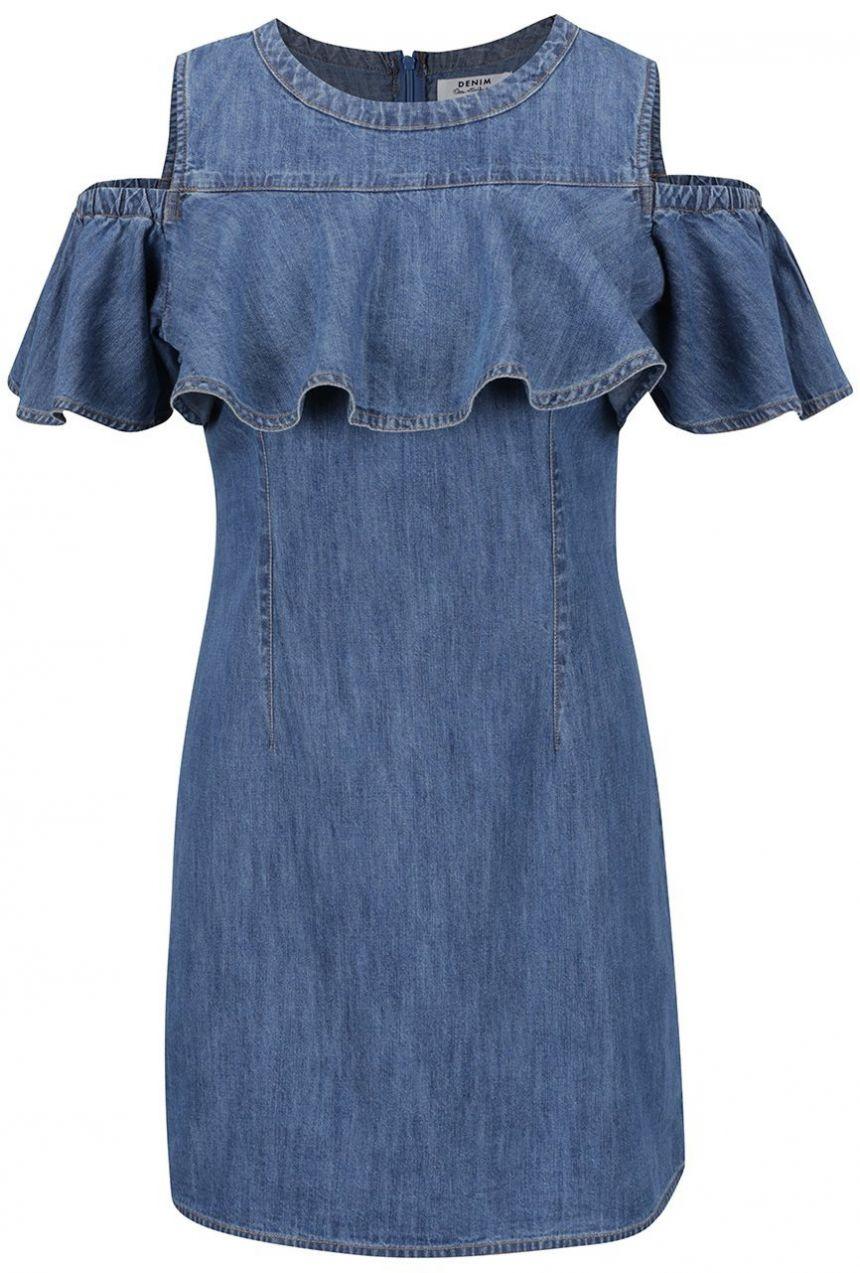 34c0ce5f4eb9 Modré rifľové šaty s prestrihmi na ramenách a volánmi Miss Selfridge značky  Miss Selfridge - Lovely.sk