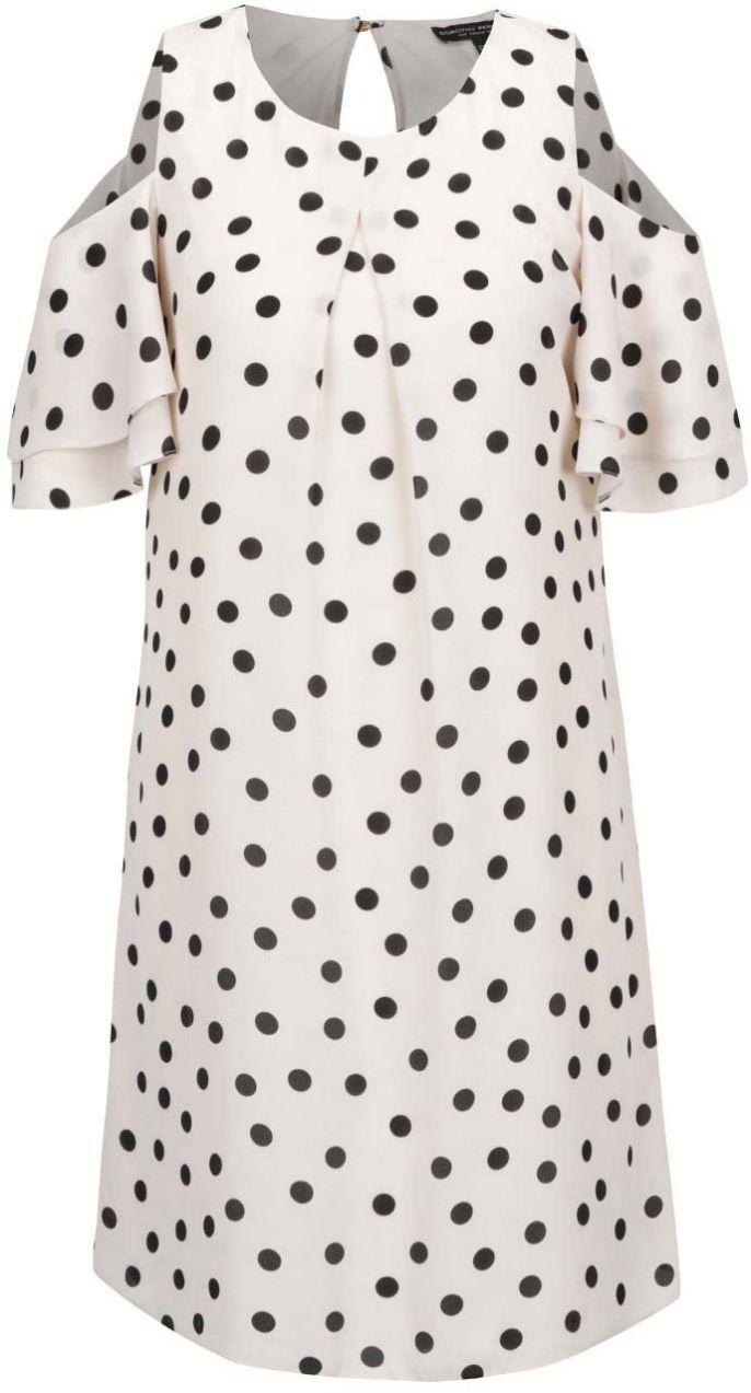Béžové bodkované šaty s prestrihmi Dorothy Perkins značky Dorothy Perkins -  Lovely.sk 01ec635fc53