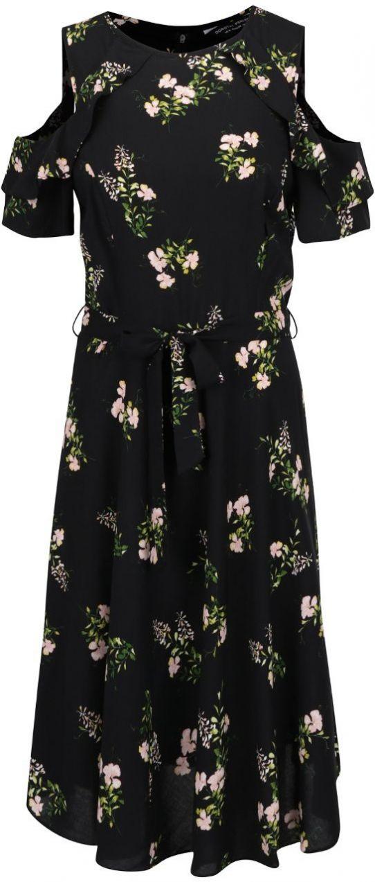 61ad66b5fe Čierne kvetinové šaty s prestrihmi na ramenách Dorothy Perkins značky  Dorothy Perkins - Lovely.sk