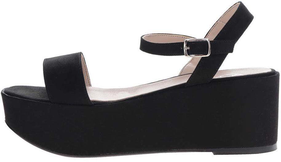 311bafa1f7f7 Čierne remienkové sandále v semišovej úprave na platforme OJJU značky OJJU  - Lovely.sk