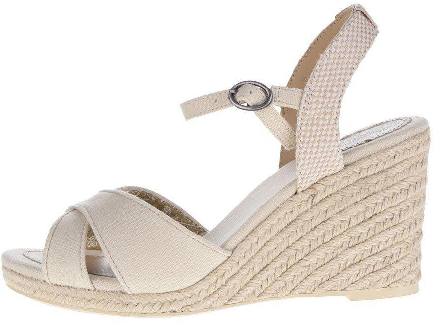 91c40b5372 Krémové sandále na klinovom podpätku Jeans Shark Basic značky Pepe Jeans -  Lovely.sk