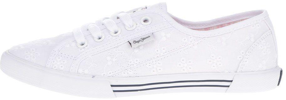 Biele dámske tenisky s výšivkou Pepe Jeans Aberlady Anglaise značky Pepe  Jeans - Lovely.sk aee8fb73e9d
