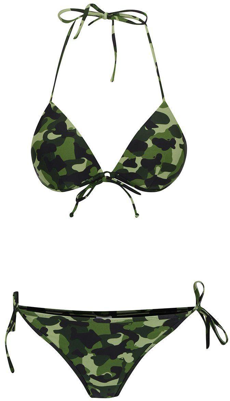 4c7c4ac1c Čierno-zelené maskáčové dvojdielne plavky Relleciga značky Relleciga -  Lovely.sk