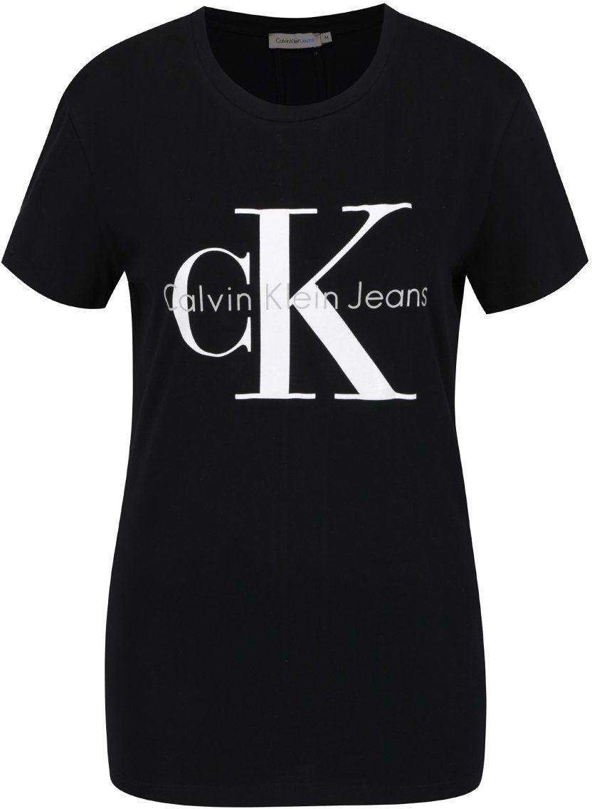 9a8d6f487ec9 Čierne dámske tričko s potlačou Calvin Klein Jeans Shrunken značky Calvin  Klein Jeans - Lovely.sk