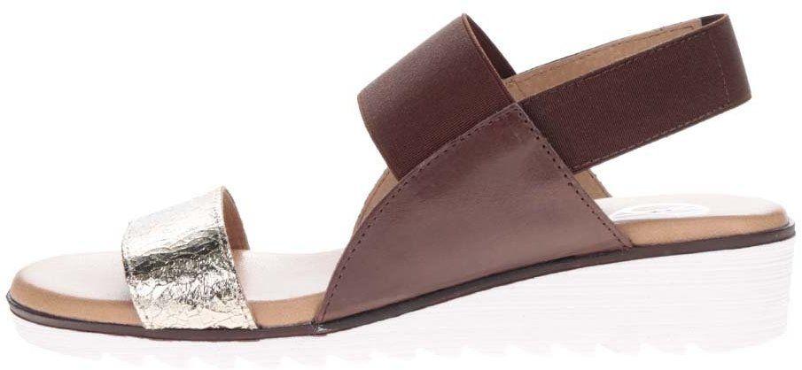 f465227a3b1b Hnedé kožené sandále s remienkom v zlatej farbe OJJU značky OJJU - Lovely.sk