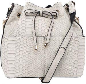 2046b07417f Krémová kabelka s hadím vzorom Miss Selfridge