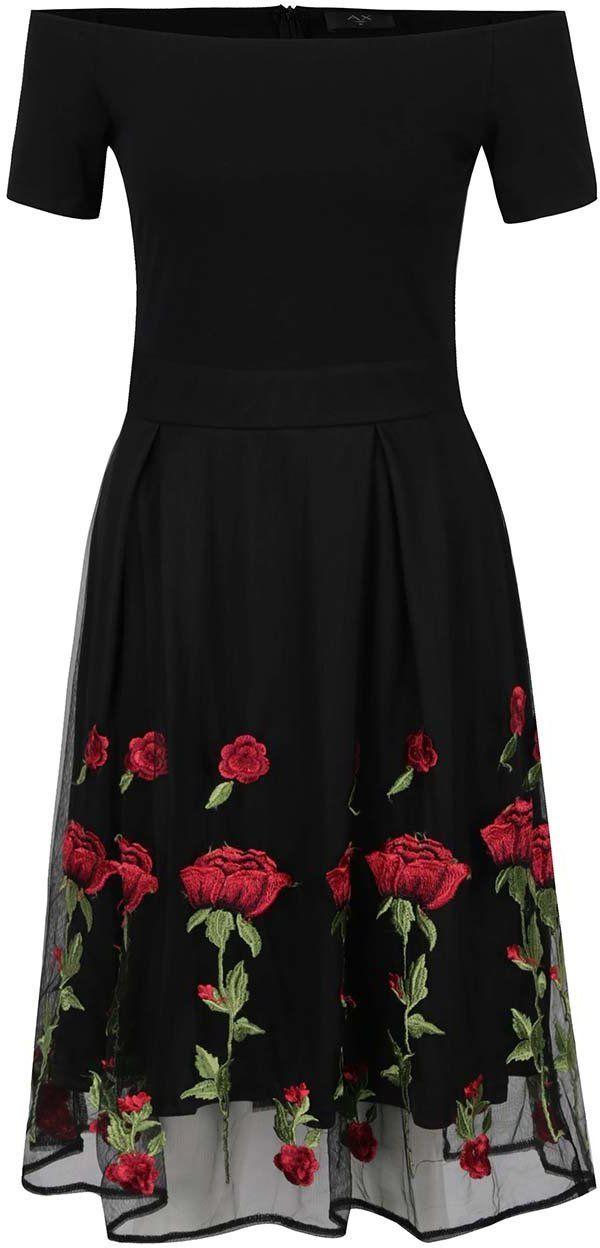 c584bb729c8e Čierne kvetované šaty s odhalenými ramenami AX Paris značky AX Paris ...