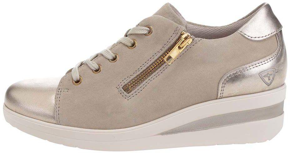 Béžové tenisky na platforme s detailmi v zlatej farbe Tamaris značky  Tamaris - Lovely.sk 1bb226ff70