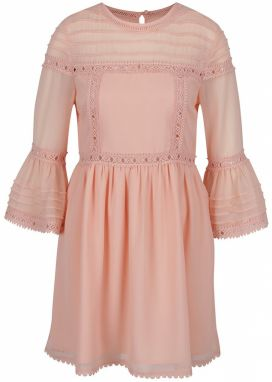 57a5cc95ca0b Hnedo-ružové šaty s prestrihmi na ramenách s volánmi Miss Selfridge ...