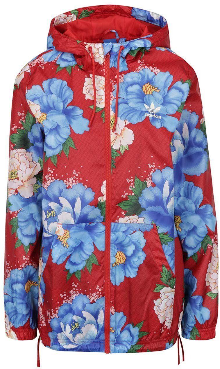 Červená kvetinová dámska bunda s kapucňou adidas Originals značky adidas  Originals - Lovely.sk 442a266c4e2