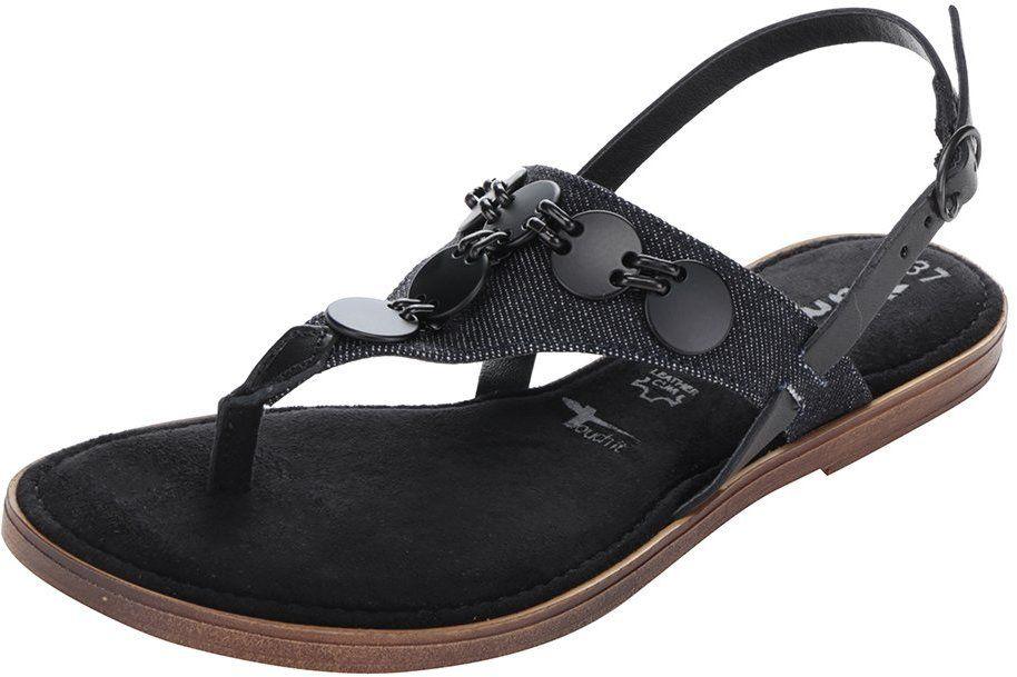 2dfcec7933e6 Čierne kožené sandále s aplikáciou Tamaris značky Tamaris - Lovely.sk