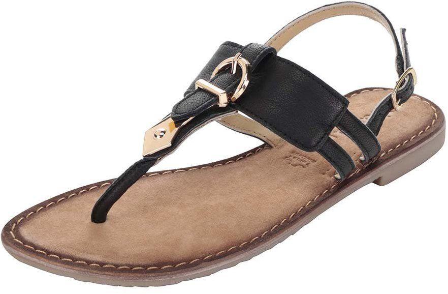 18264a808854 Čierne kožené sandále s detailmi v zlatej farbe Tamaris značky Tamaris -  Lovely.sk