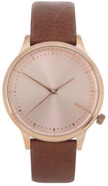 Dámske hodinky v ružovozlatej farbe s hnedým koženým remienkom Komono  Estelle e67e7720303