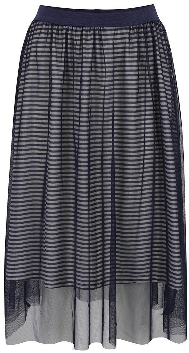 ca0adeafc2f7 Tmavomodrá tylová sukňa s pruhovanou podšívkou ONLY Mesh značky ONLY -  Lovely.sk