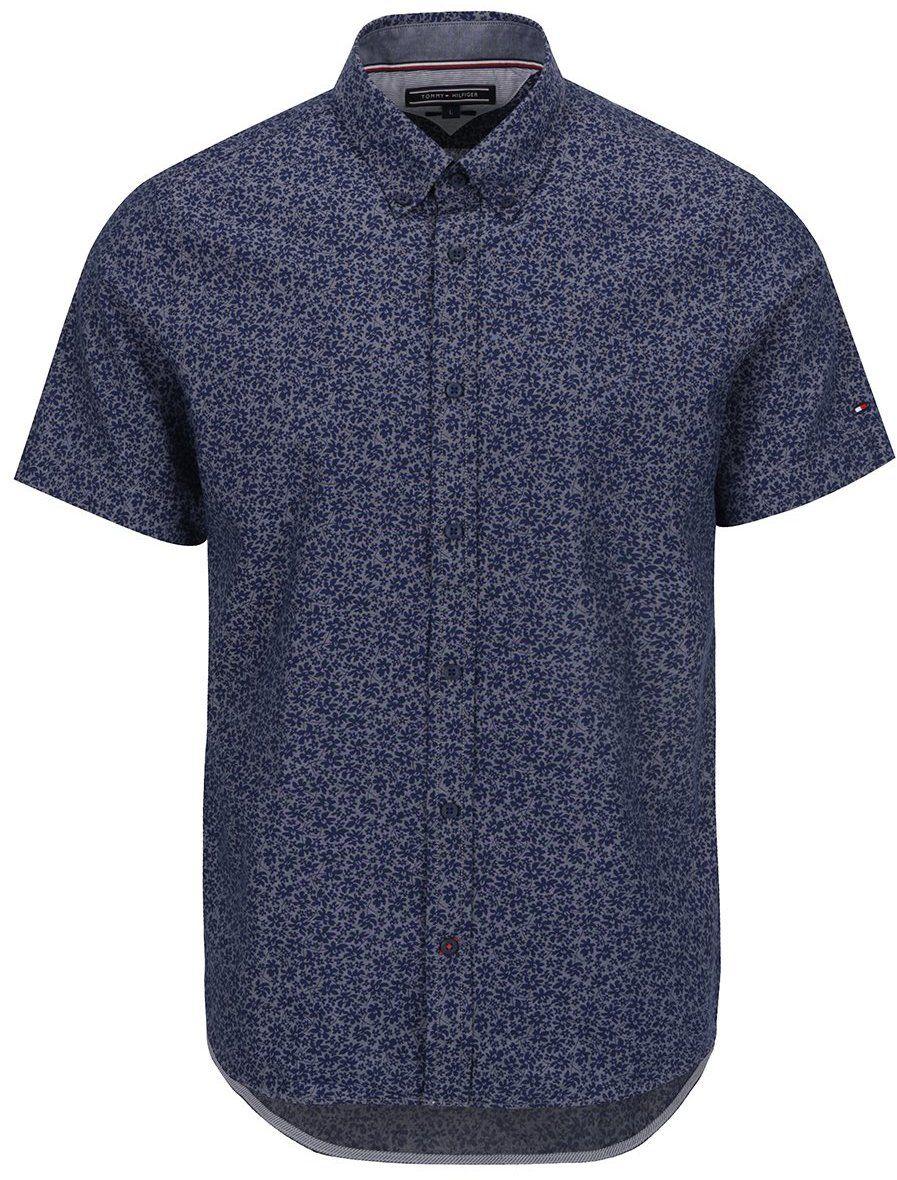 Tmavomodrá pánska vzorovaná košeľa s krátkym rukávom Tommy Hilfiger značky  Tommy Hilfiger - Lovely.sk e9e1196364b