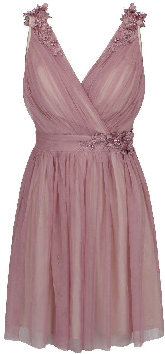 273cfbd1a0c9 Staroružové šaty s prekladaným výstrihom a plastickým zdobením Little  Mistress značky Little Mistress - Lovely.sk
