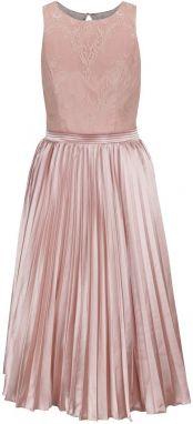 c3a307596a9f Ružové lesklé šaty s čipkovaným topom Chi Chi London