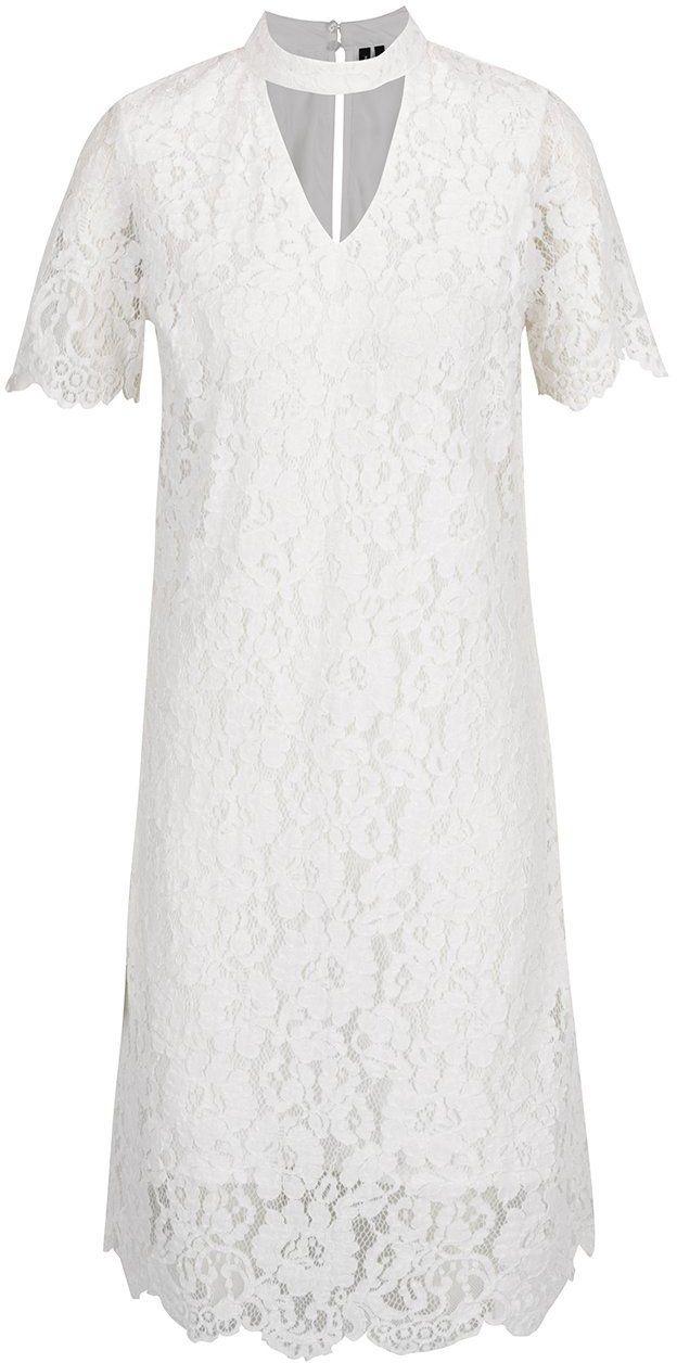 5beeb369513c Krémové čipkované šaty s prestrihom v dekolte VERO MODA Elvira značky Vero  Moda - Lovely.sk