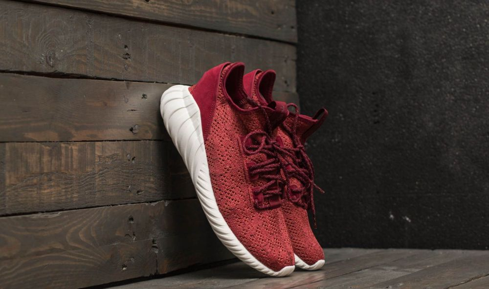 adidas Tubular Doom Sock Primeknit Mystery Red/ Core Burgundy/ Crystal White EUR 43 1/3