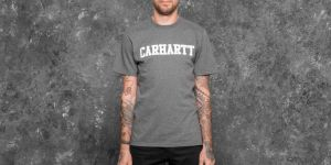 Carhartt WIP Shortsleeve College T-Shirt Dark Grey Heather/ White S